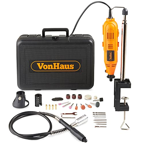 VonHaus Variable Speed Rotary Tool Set with Flex Shaft, Stand and Storage Case Including 34