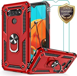 Jshru LG K51 Case, LG Q51 Case with Tempered Glass Screen Protector [2Pack], Military Grade Protective Phone Case with Ring Car Mount Kickstand for LG K51 / Q51 Red