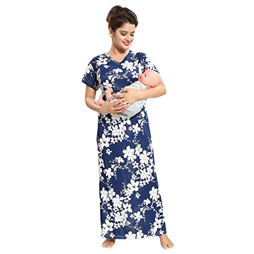 76469c4838b20 TUCUTE Women's All Over Floral Print Feeding/Maternity/Nursing  Nighty/Nightwear with Invisible