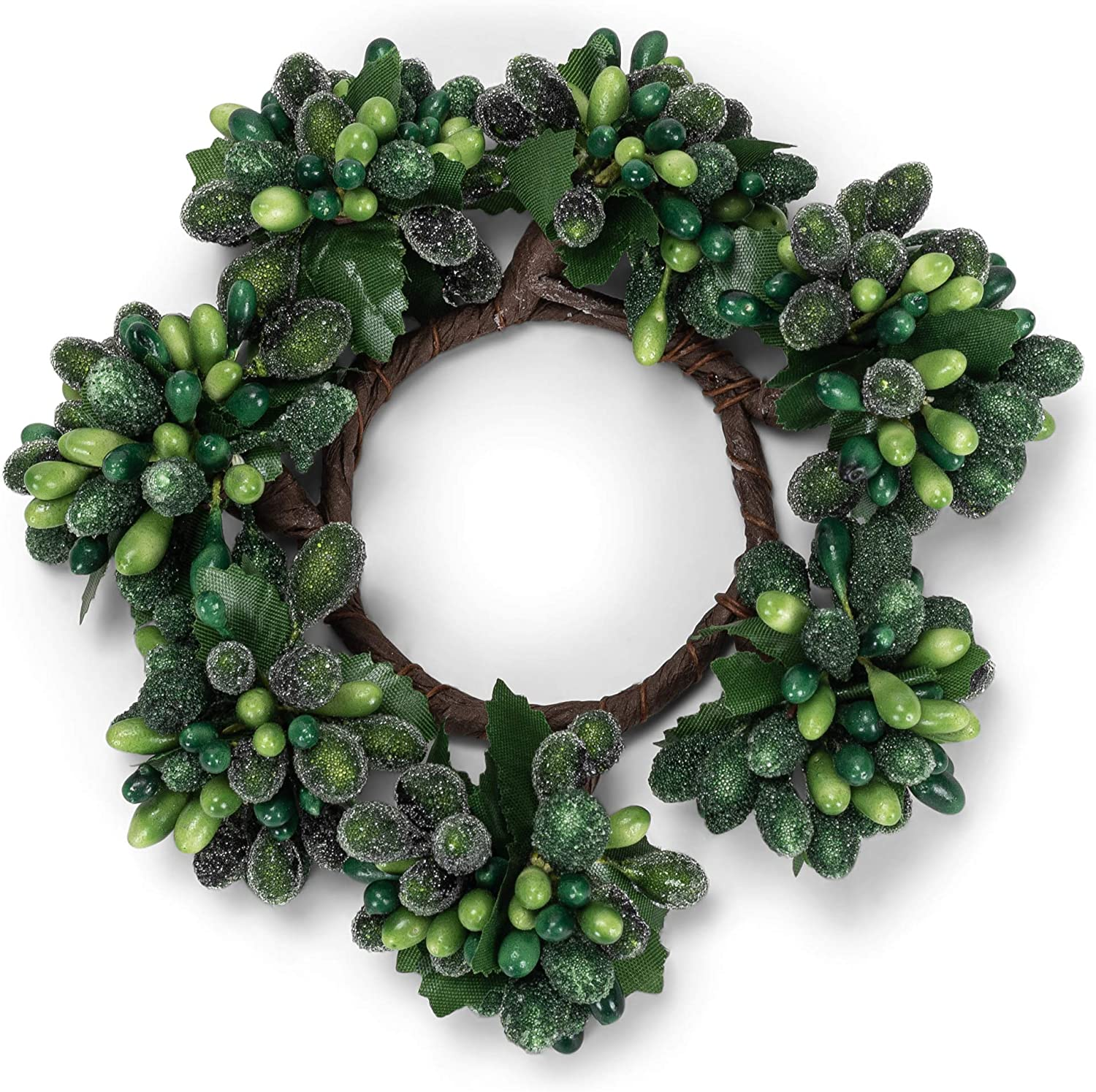 Amazon Com Raz Imports Holiday Berry Candle Ring Christmas Decorations Table Decor Fits A Votive Green Kitchen Dining