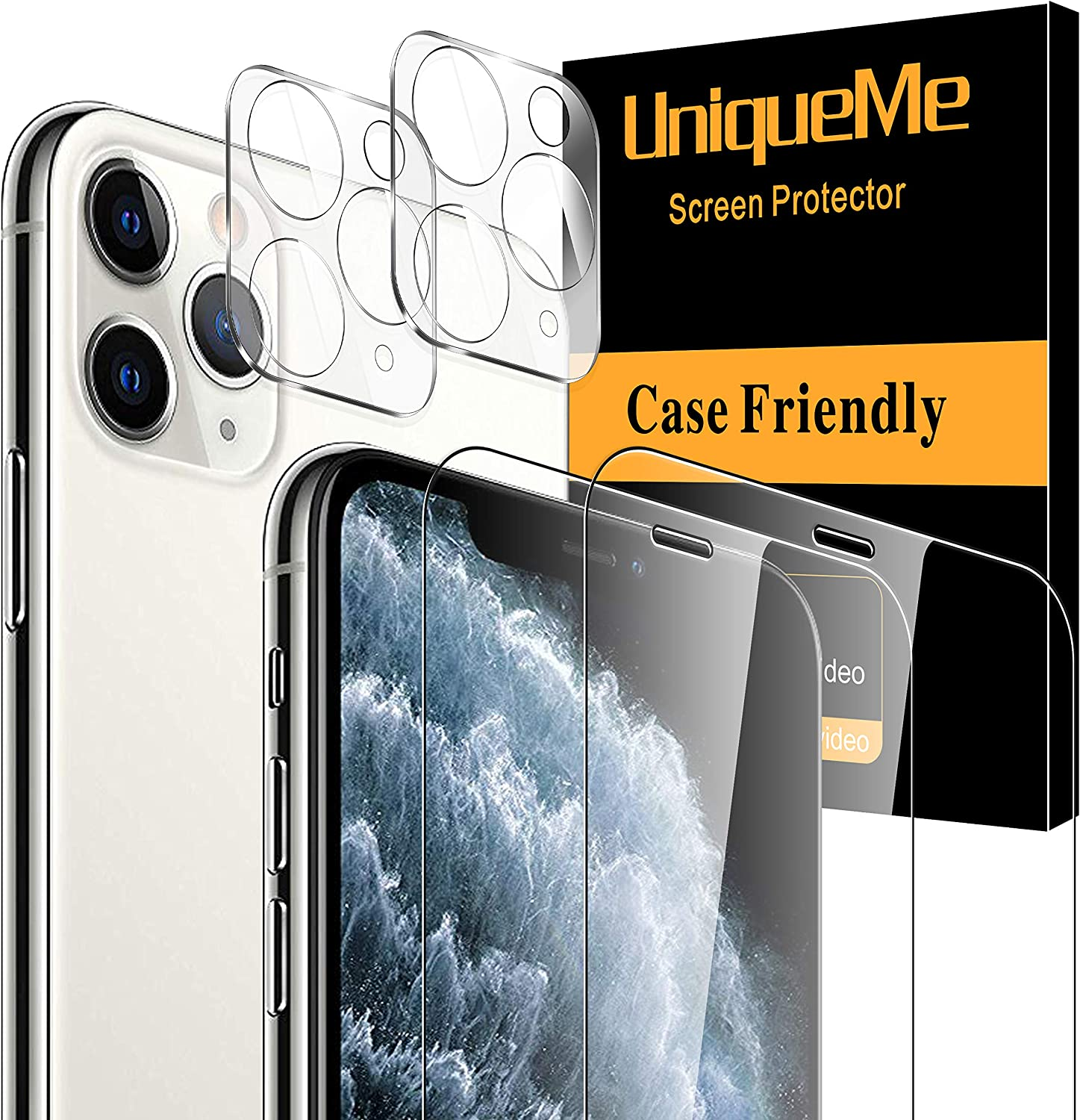 [4 Pack] UniqueMe Compatible with iPhone 11 Pro Max 6.5 - inch, 2 Pack Screen Protector Tempered Glass and 2 Pack Camera Lens Protector 9H Hardness Clear [Bubble Free]