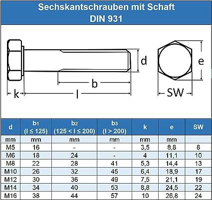 Edelstahl A2 V2A 30 St/ück Gewindeschrauben ISO 4014 rostfrei Maschinenschrauben mit Teilgewinde Eisenwaren2000 - DIN 931 M10 x 150 mm Sechskantschrauben mit Schaft