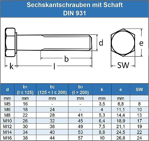 M8 x 75 mm Sechskantschrauben mit Schaft - DIN 931 Maschinenschrauben mit Teilgewinde ISO 4014 Eisenwaren2000 Gewindeschrauben 20 St/ück rostfrei Edelstahl A2 V2A