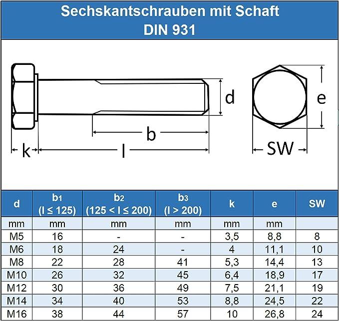 Sechskantschrauben metrisch mit Teilgewinde 8.8 // M5 6 x 30 50 St/ück M10 a