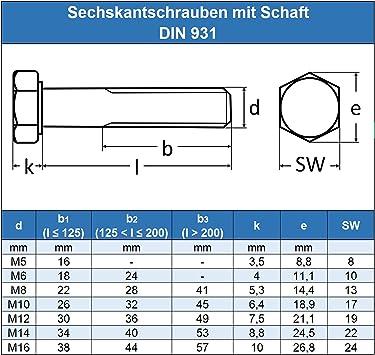 rostfrei Edelstahl A2 V2A - DIN 931 M10 x 200 mm Sechskantschrauben mit Schaft ISO 4014 Eisenwaren2000 20 St/ück Maschinenschrauben mit Teilgewinde Gewindeschrauben