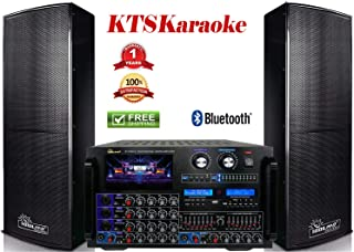 IDOLpro Premium Karaoke Speaker IPS-Deluxe I 1500Watts and 8000Watts IP-7000 Console Mixing Amplifier with HDMI/Bluetooth/LCDScreen/EqualizerFREE 20FT Speaker Cables