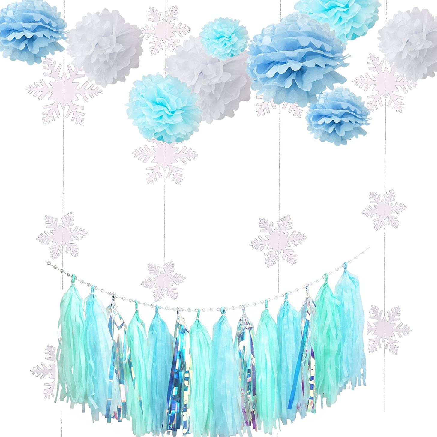 Fonder Mols Frozen Party Decorations Kit Blue White Tissue Pom Flowers Snowflake Garland Ice Tassel Garland for Baby Shower Birthday Party Backdrop Table Centerpieces Wall Decor 23pcs