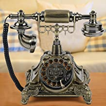 $68 » Retro Vintage Antique Resin Telephone,Retro Old Fashioned Rotary Dial Home and Office Telephone(Gold)