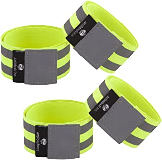 Reflective Running Gear for Men and Women | Reflectors for Runners, Cycling, Walking | Set of 4 Reflective Ankle Bands, Armbands, Wristbands | Reflector Tape Providing High Visibility Safety Apparel