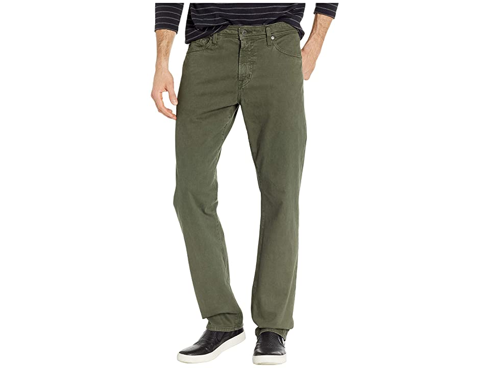Image of AG Adriano Goldschmied Everett Slim Straight SUD Sueded Stretch Sateen in Sulfur Ash Green (Sulfur Ash Green) Men's Casual Pants