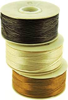 NYMO Nylon Beading Thread Size D for Delica Beads, 64 Yards per Bobbin, Brown, Champagne & Golden (Pack of 3 bobbins)