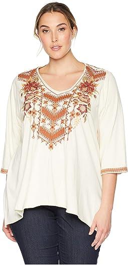 Plus Size Elim 3/4 Sleeve Drape Top