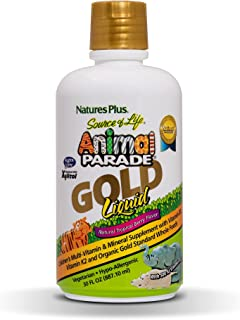 NaturesPlus Animal Parade Source of Life Gold Children's Liquid Multivitamin, 30 OZ - Natural Tropical Berry Flavor - Immu...