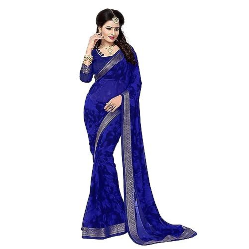 704fc4038fb460 Blue Chiffon Saree: Buy Blue Chiffon Saree Online at Best Prices in ...