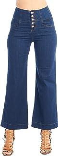 Khanomak Women's High-Rise Waist 5 Button Front Wide Leg Denim Jean Vintage Culottes Pants