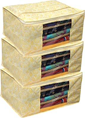 Kuber Industries Dots 12 Piece Non Woven Saree Cover Set, Blue