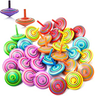 Joeyer 30 Pcs Handmade Painted Wood Spinning Tops Wooden Spinning Tops Kids Party Supplies Decorations