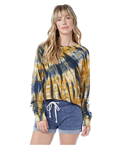 Alternative Washed Terry Boyfriend Pullover Sweatshirt (Navy Spiral Tie-Dye) Women