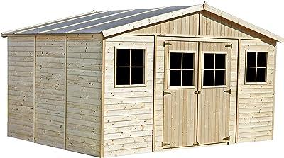 TIMBELA Abri de Jardin en Bois Naturel - Stockage extérieur avec fenêtres- H246x418x318 cm/12 m²- Hangar en Bois Naturel - Atelier Rangement Outils et vélos M331