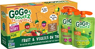 GoGo squeeZ fruit & veggieZ, Variety Pack (Pear/Berry), 3.2 Ounce (12 Pouches), Gluten Free, Vegan Friendly, Unsweetened, ...