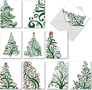 Just Fir You' Christmas Cards, Decorative Swirly Christmas Tree Holiday Greeting Cards 4 x 5.12 inch, Boxed Set of 10 Artsy Pine Tree Cards, Thank You Notes with Envelopes M5019XTG