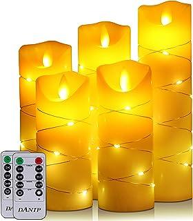 LED flammenlose Kerze, mit eingebetteter Lichterkette, 5-teiliger LED-Kerze, Fernbedienung mit 10 Tasten, 24-Stunden-Time...