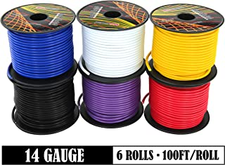 GS Power 14 Gauge 6 Rolls of 100 Feet (600 ft total) Copper Clad Aluminum Low Voltage Primary Wire. For 12V Automotive Harness Car Audio Video Amplifier Remote Trailer Hookup Drone Model Train Wiring