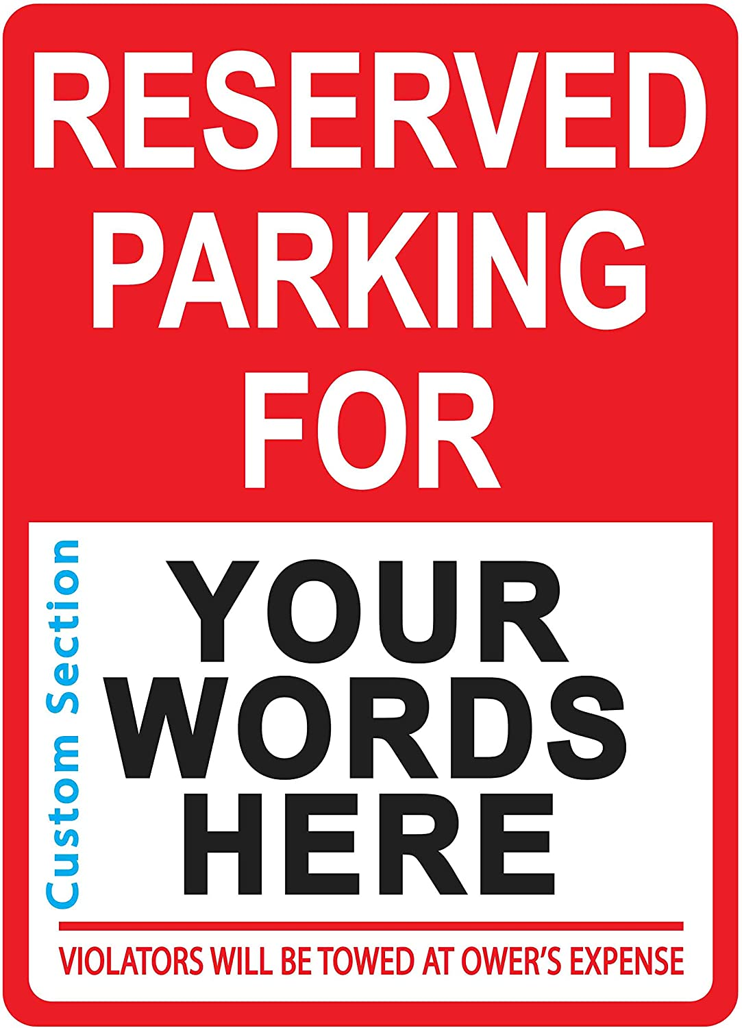Custom Max 71% OFF Reserved Parking Sign for Cus - San Jose Mall Personalized