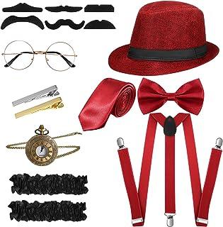 SATINIOR 1920s Men Costume Accessories Set Roaring Retro Gangster Costume, Hat, Bow Tie, Pocket Watch, Suspender, Glasses, Beard, Armband Garters, Tie Clips, Pocket Watch (Wine Red)