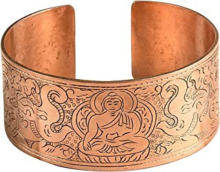 Copper Buddha Wide Cuff Hammered Bracelet Healing Spiritual Boho Hippie Yoga Power Buddhist Men Women