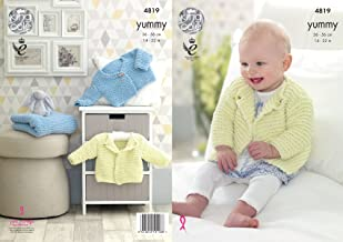 King Cole Knitting Pattern Baby Blanket & Collared or V Neck Cardigan Yummy Chunky (4819)