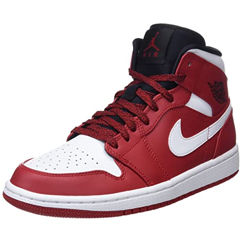 44b86ae57584 Nike 554724-605  Mens Air Jordan 1 Mid Gym Red White Black