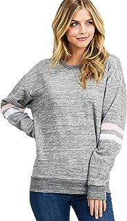 Women's Ultra Soft Fleece Lightweight Casual Custom Sleeves Crew Neck Sweatshirt