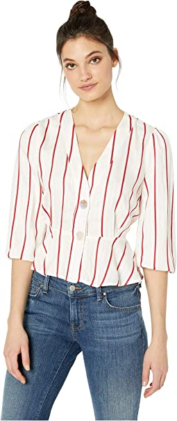 Striped Deep V-Neck Top with Peplum