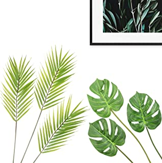 Gemway Artificial Tropical Leaves Monstera Leaves Palm Leaves DIY Home Decoration Wedding Party - (3 Pcs Monstera Leaves + 3 Pcs Palm Leaves)