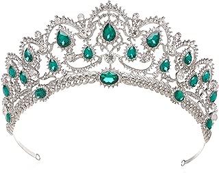 SWEETV Vintage Crystal Wedding Crown for Women, Rhinestone Queen Tiara Bridal Hair Accessories, Emerald