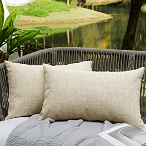 WAYIMPRESS Outdoor Pillows for Patio Furniture Waterproof Pillow Covers Square Garden Cushion Farmhouse Linen Throw Pillow Covers Shell for Patio Tent Couch 12 X 20 Inch Cream