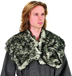Museum Replicas Limited Faux Wolf Fur Mantle, Unisex Viking Collar, Medieval Collar