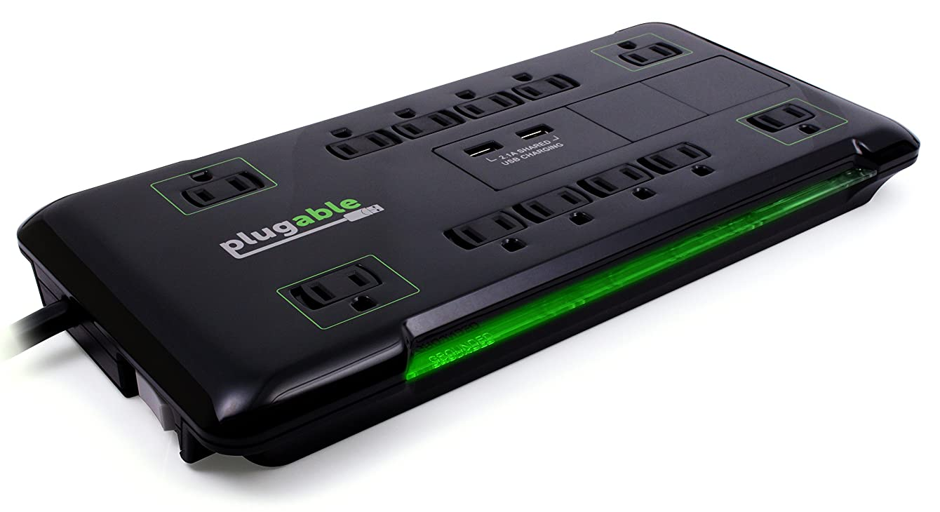 Plugable 12 AC Outlet Surge Protector - 25 Foot Power Cord with 2 Built-in USB Ports (10.5W USB Total) (Black) wypimzhiokdxm90