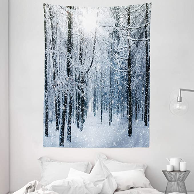 Ambesonne Winter Tapestry Snow Covered Forest Idyllic Early Morning Scenery Seasonal Xmas Nature Wall Hanging For Bedroom Living Room Dorm Decor 60 X 80 Blue White Home Kitchen Amazon Com