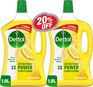 Dettol Lemon Antibacterial Power Floor Cleaner 1.8L Twin Pack At 20% Off