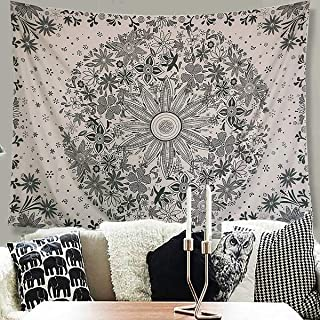 Athorbot Bohemian Tapestry Wall Hanging, Hippie Mandala Tapestry White Floral Wall Art Collage Dorm Home Decor Beach(80 x 60 inch)