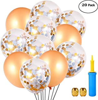 Shiny Party Gold Champagne and Silver Gold Confetti Latex Balloons, Air Pump, Ribbons, Clips - 20 Pack - 18 Inch - for Wedding, Birthday, Bridal and Baby Shower Decorations