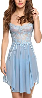Avidlove Women Lingerie Gown Forky Nightwear Mesh Babydoll Dress Lace Chemises Nightie