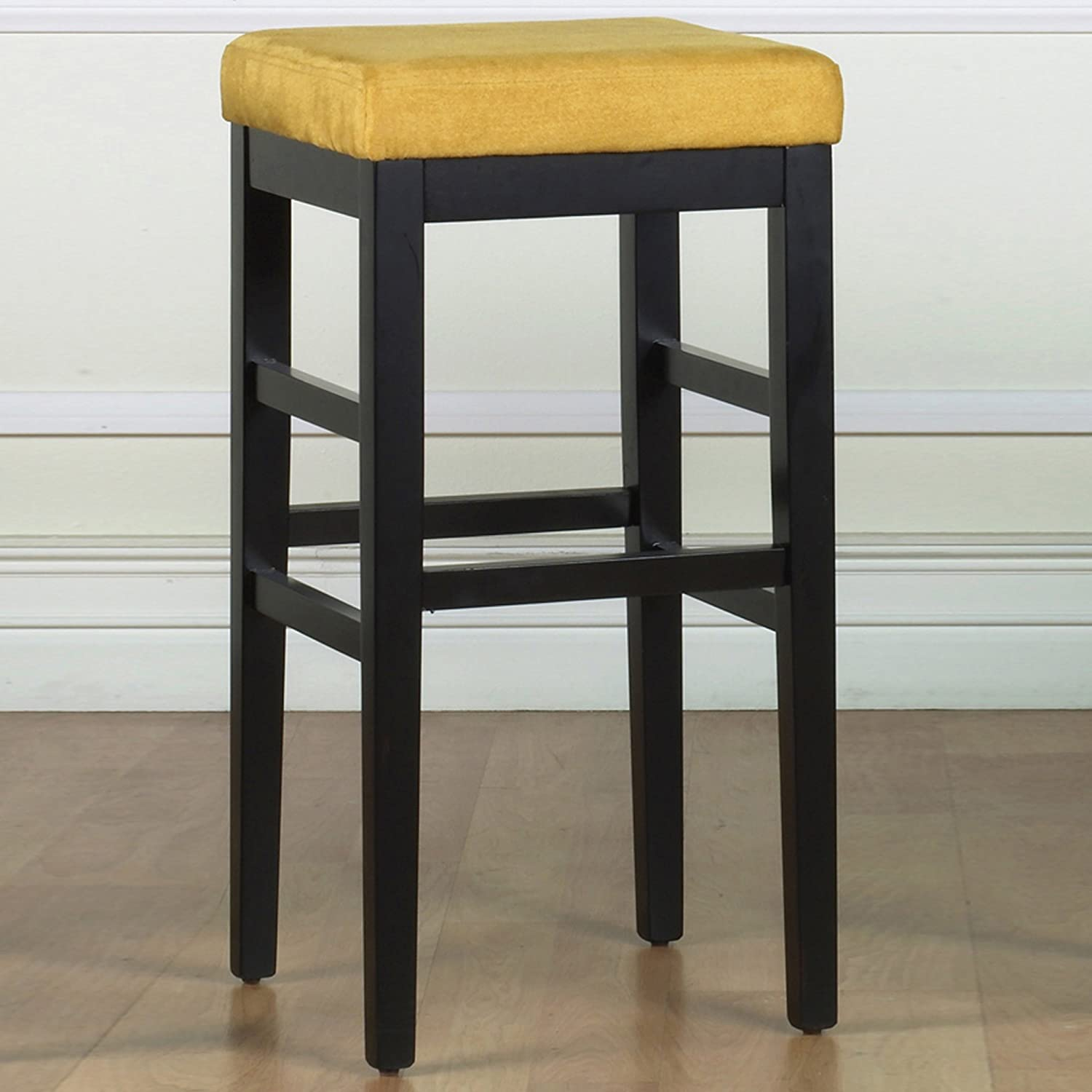 Armen Living Sonata 30-Inch Stationary Barstool Yellow Micro Fiber with Black Legs