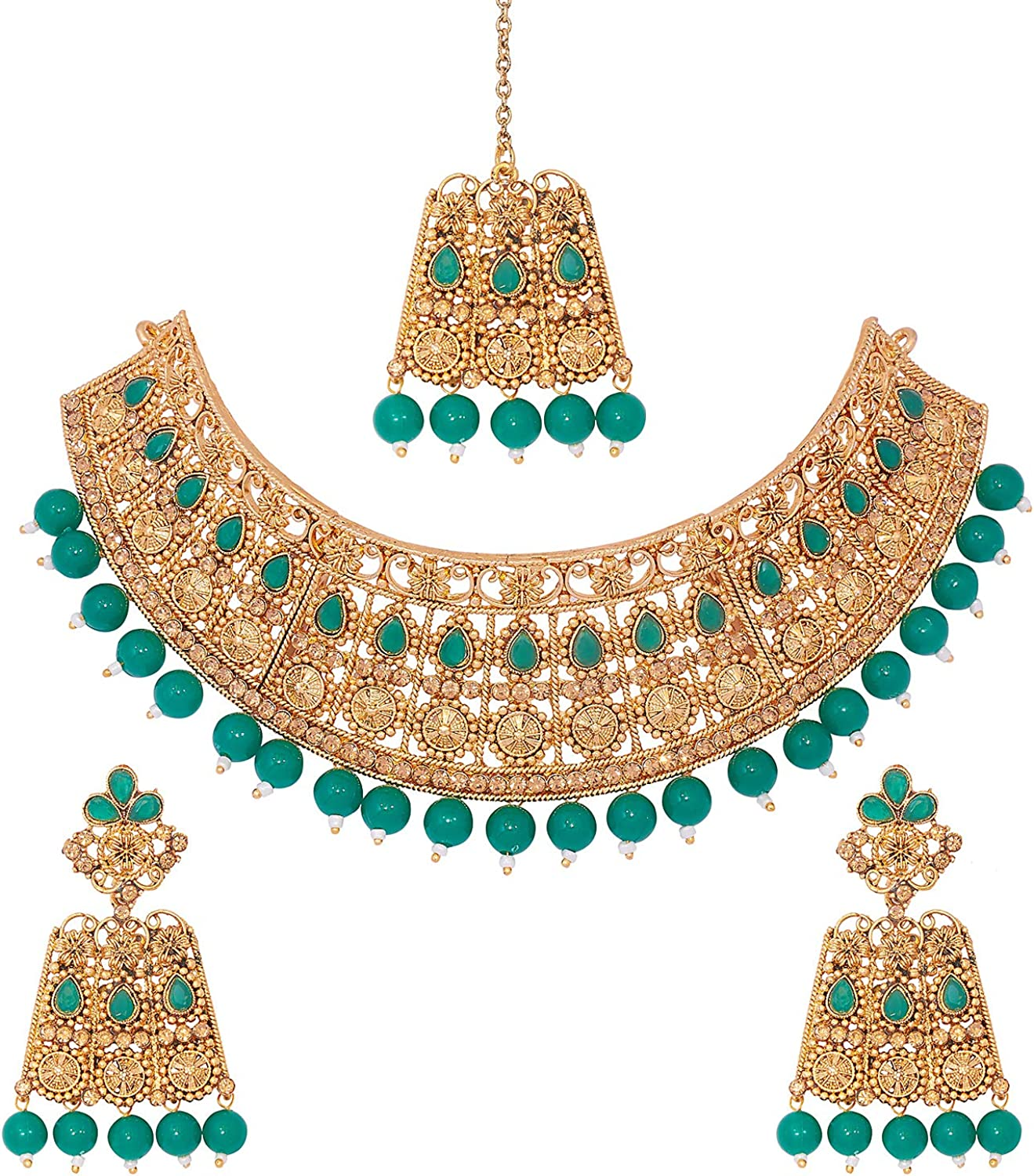 bodha Traditional Indian 18K Antique Gold Plated One Gram Wedding Bridal Jewellery Combo Necklace Set with Tikka and Earrings for Women (SJ_2920_G)