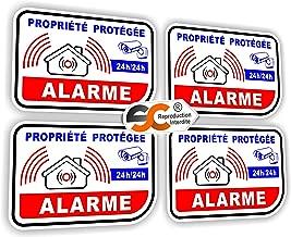 Sticker Alarme Vidéo-Surveillance Autocollant (Lot de 4 Stickers)