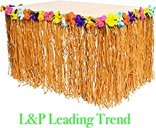 Charmed Natural Color Luau Grass and Hibiscus Flower Table Skirt 9 Feet x 29