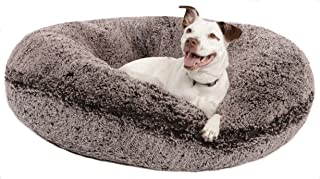 BESSIE AND BARNIE Signature Frosted Willow Luxury Shag Extra Plush Faux Fur Bagel Pet/Dog Bed