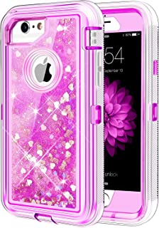 Caka iPhone 6 6S 7 8 Case, iPhone 6S Glitter Case Protective Bling Flowing Floating Luxury Glitter Sparkle Heavy Duty Liquid Case for iPhone 6 6S 7 8 (4.7 inch) (Love Pink)